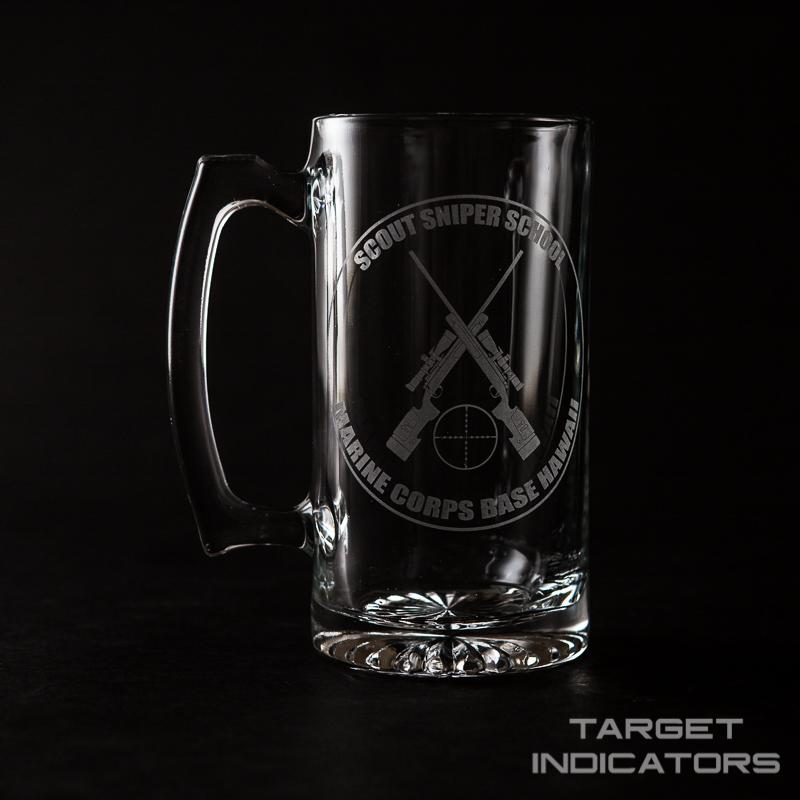 custom laser engraved beer mug target indicators